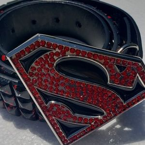 Superman belt studded bonded leather size 34